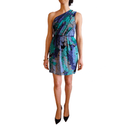 1 Silk Multi-Colour One Shoulder, Dress, Missy-Kay-Kay,- REHEART Canadian Online Wardrobe-Sharing Platform