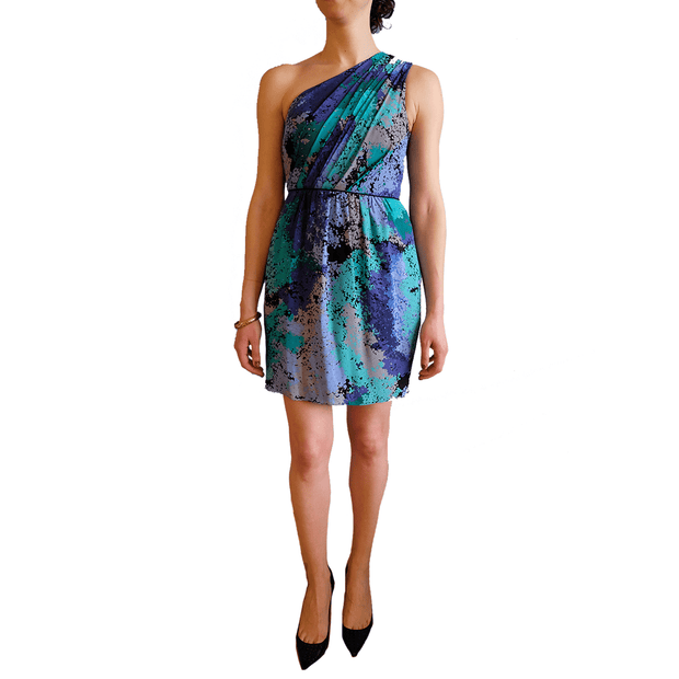 Silk Multi-Colour One Shoulder, Dress, Missy-Kay-Kay,- REHEART Canadian Online Wardrobe-Sharing Platform