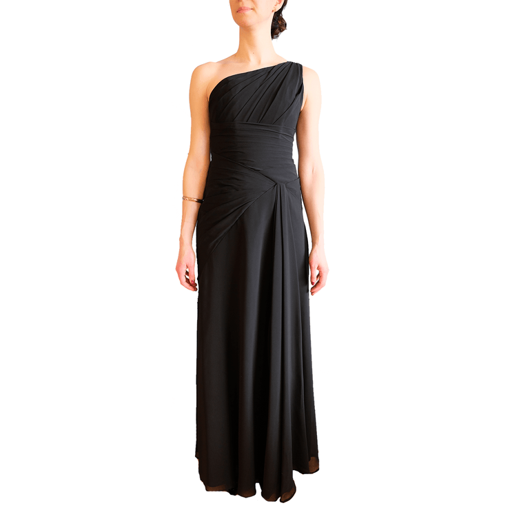 One Shoulder Pleated Gown, Dress, Missy-Kay-Kay,- REHEART Canadian Online Wardrobe-Sharing Platform