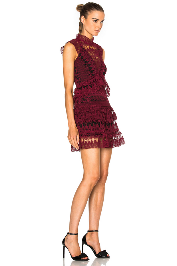 Teardrop Guipure Panelled Mini Dress