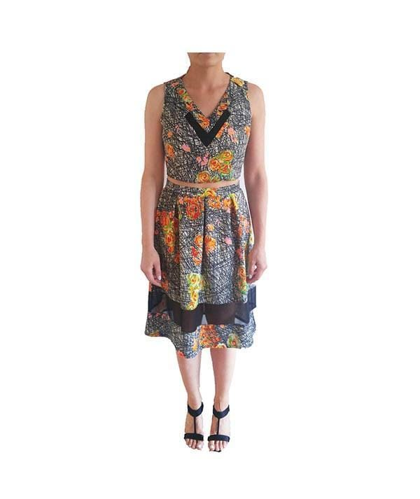 Floral Cross Hatch Two-Piece, 2-Piece, aly_prots,- REHEART Canadian Online Wardrobe-Sharing Platform