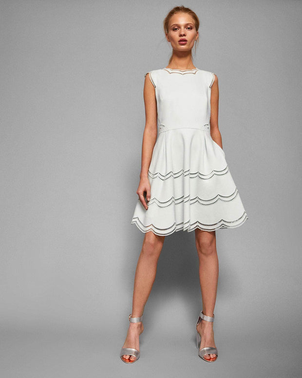 Cammey Embroidered Scallop Skater Mini, Dress, ladydi,- REHEART Canadian Online Wardrobe-Sharing Platform