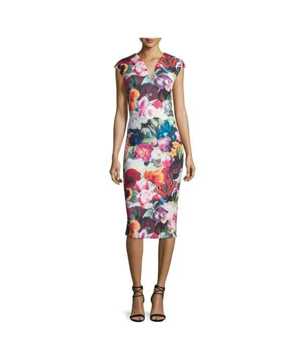 Odeela Floral-Swirl Midi Bodycon Dress