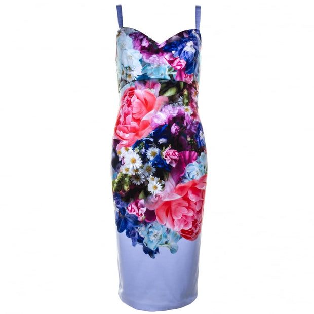 Blue and Pink Floral Dress, Dress, olivbz,- REHEART Canadian Online Wardrobe-Sharing Platform