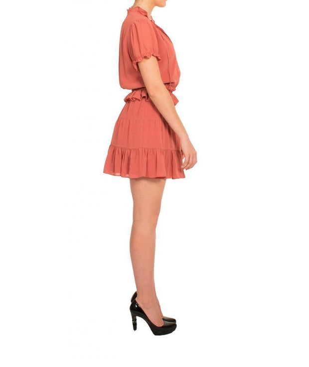 Coral Ruffle Mini Dress - REHEART 💜 Canadian Online Wardrobe-Sharing Platform