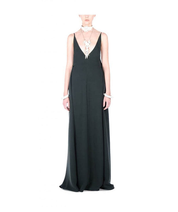 Deep V Hunter Green Gown, Dress, KumarG,- REHEART Canadian Online Wardrobe-Sharing Platform