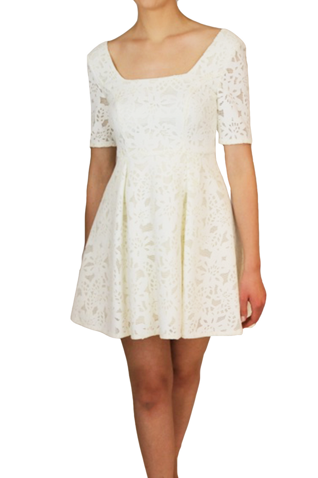 Pure White Lace High-Low Dress, Dress, vbelegrinis,- REHEART Canadian Online Wardrobe-Sharing Platform