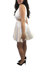 White Satin Cut-Out Dress