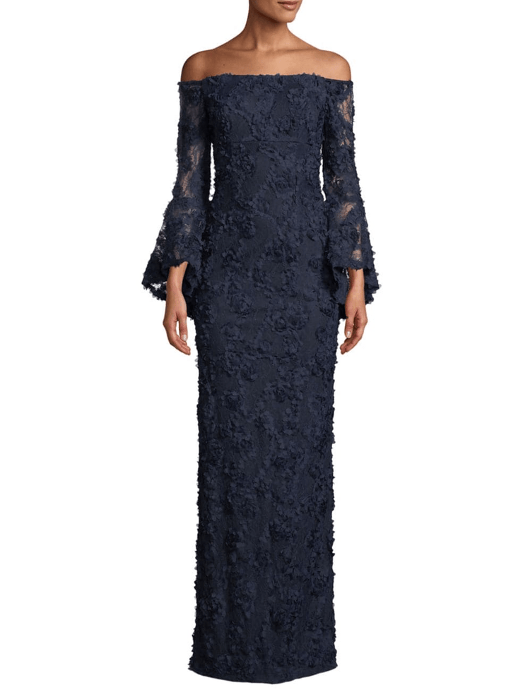 Floral Lace Bell-Sleeve Column Gown, Dress, Kelly,- REHEART Canadian Online Wardrobe-Sharing Platform