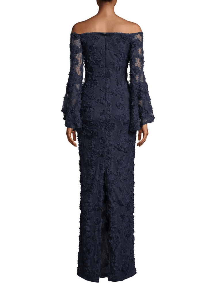 Floral Lace Bell-Sleeve Column Gown - REHEART 💜 Canadian Online Wardrobe-Sharing Platform