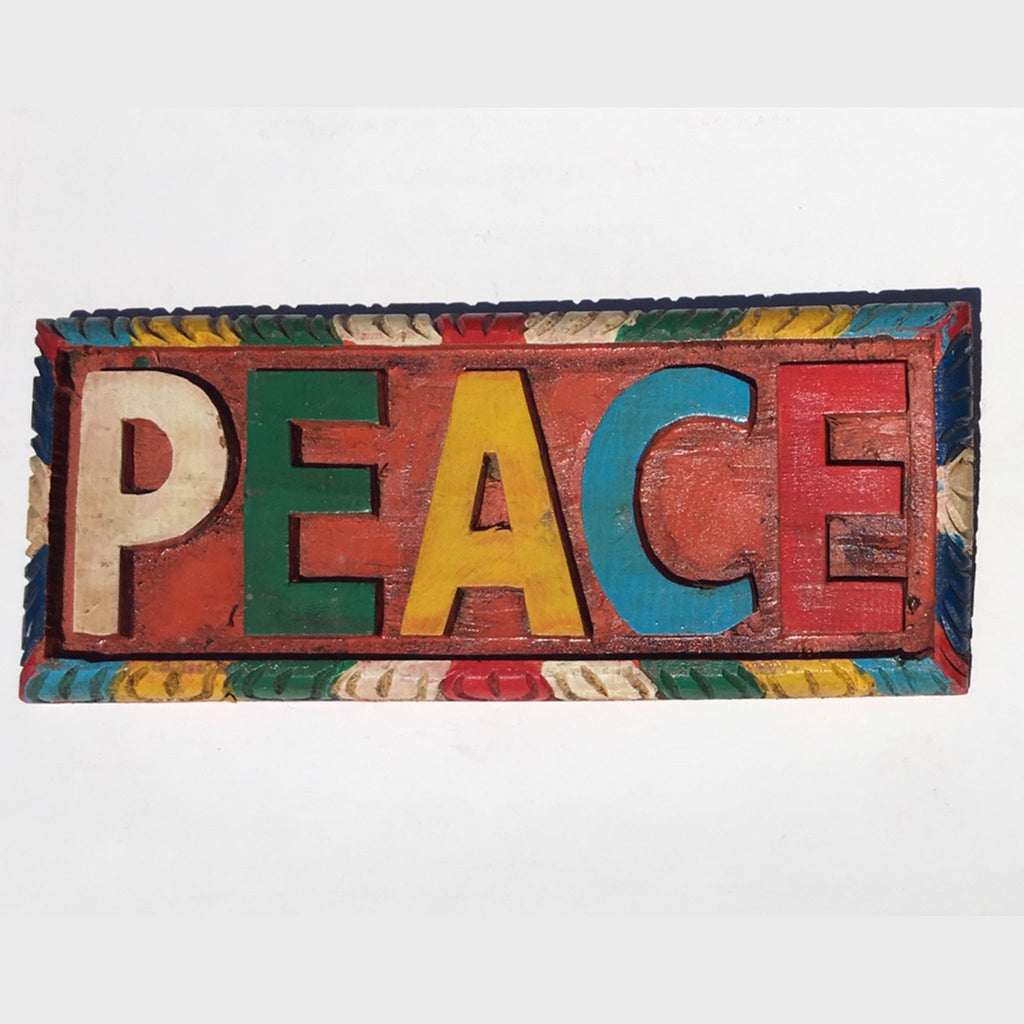Hand Carved Wooden Peace Sign (CWPS-1)