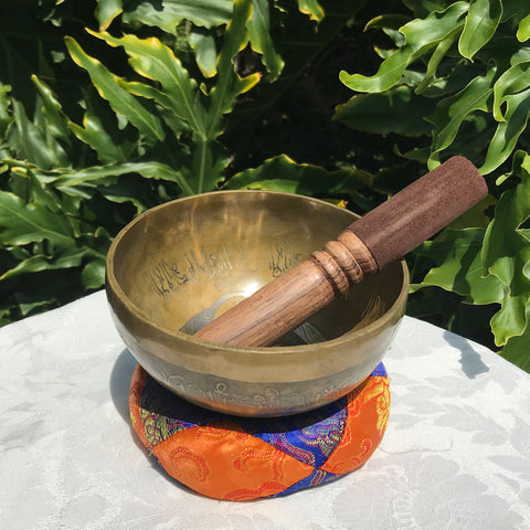 Hand Pounded Etched Buddha Singing Bowl
