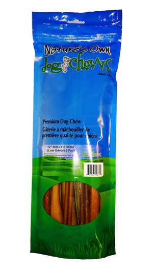 "NATURE'S OWN BULLY STICK 9 PK 12"" ODOR FREE"