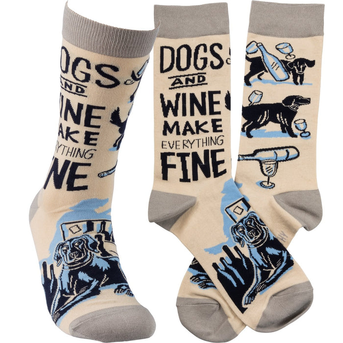SOCKS- DOGS AND WINE MAKE EVERYTHING FINE