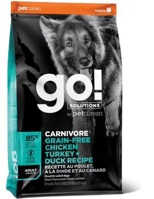 GO! CARNIVORE Grain Free Chicken, Turkey + Duck - Dog Food - 22lb
