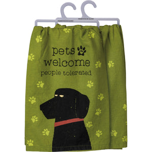Dish Towel - Pets Welcome Green