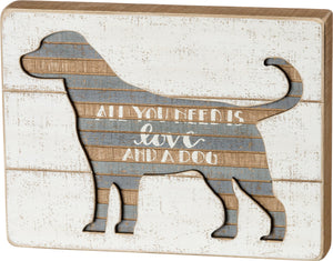 SIGN- SLAT LOVE AND DOG
