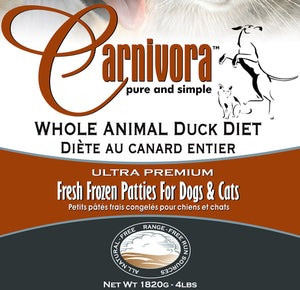 Carnivora Duck Diet 4lb - 8oz Patties