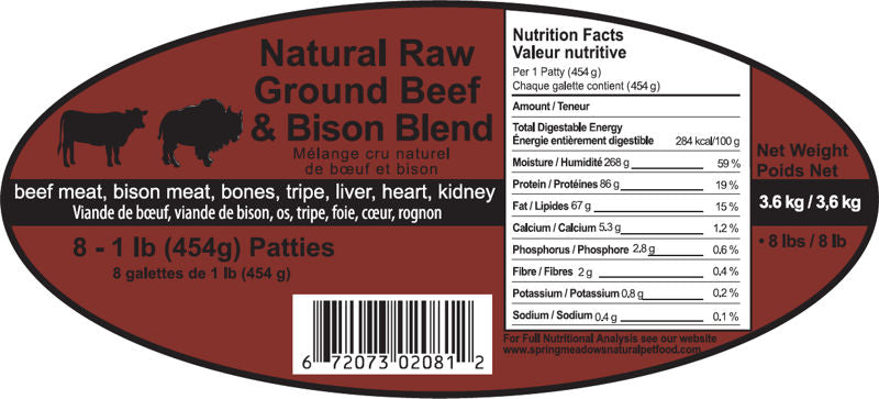 Beef Bison 8 - 1/2 lb Patties Spring Meadows Diet