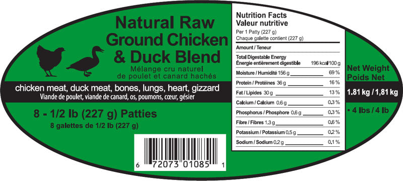 Chick Duck  8 - 1/2 lb Diet Patties Spring Meadows Diet