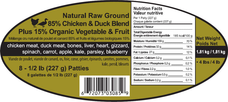 Chick Duck  8 - 1/2 lb  Patties with Fruit and VeggiesSpring Meadows Diet