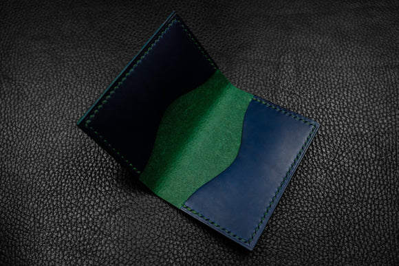 Italian Leather 2 Slot Bifold Wallet (Green|Blue)