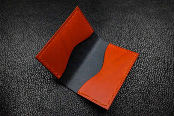 NEW: Italian Leather 2 Slot Bifold Wallet (Navy|Orange)