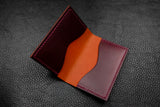 Italian Leather 2 Slot Bifold Wallet (Orange|Burgundy)