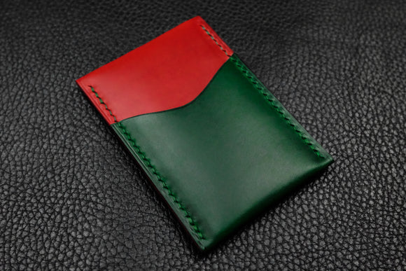 Italian Leather 2 Slot Card Wallet (Red|Green)