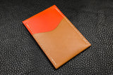 New: Italian Leather 2 Slot Card Wallet (Sand|Orange)