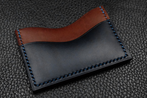 NEW: Italian Leather 3 Slot Card Wallet (Chocolate|Navy)