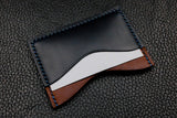 Italian Leather 3 Slot Card Wallet (Chocolate|Navy)