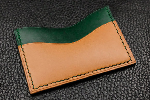 NEW: Italian Leather 3 Slot Card Wallet (Green|Sand)