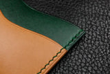 Italian Leather 3 Slot Card Wallet (Green|Sand)