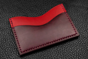 NEW: Italian Leather 3 Slot Card Wallet (Red|Burgundy)