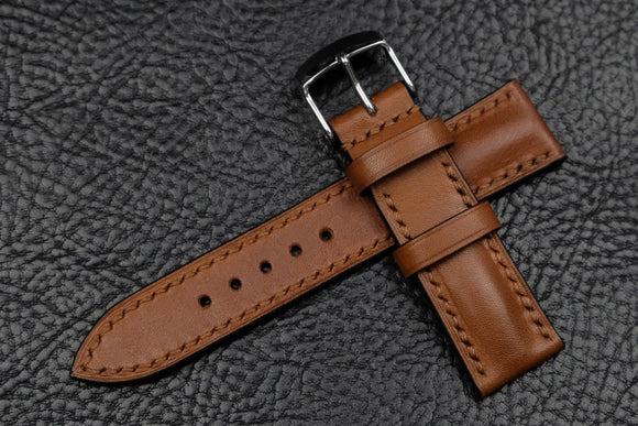 NEW: Barenia Tan Half Padded Leather Watch Strap