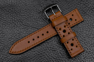 Barenia Tan Racing Leather Watch Strap