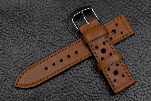 NEW: Barenia Tan Racing Leather Watch Strap