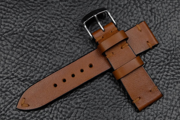 NEW: Barenia Tan Side Stitch Leather Watch Strap