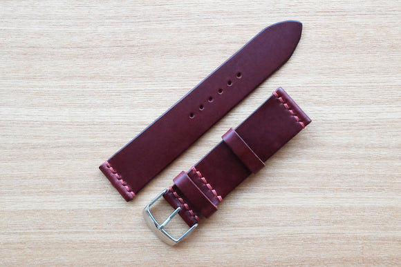 OO: Italian Burgundy Unlined Leather Watch Strap (22/20)