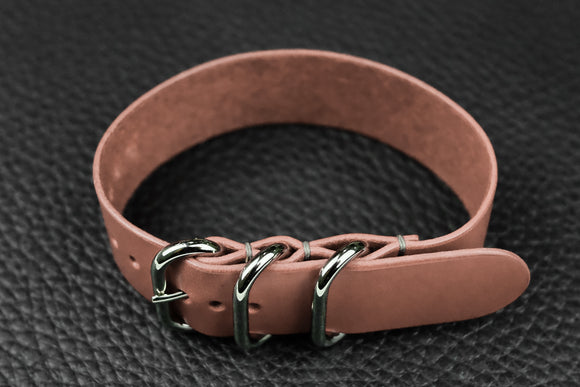 Italian Pink 3 Ring Pass Through Leather Strap