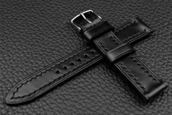 THOS Italian Black Leather Watch Strap
