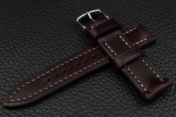THOS Italian Burgundy Leather Watch Strap