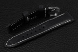 Italian Black Half Padded Leather Watch Strap