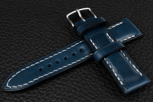 Italian Blue Half Padded Leather Watch Strap