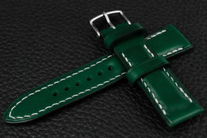 Italian Green Half Padded Leather Watch Strap