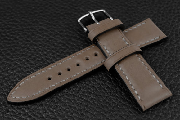 Italian Grey Half Padded Leather Watch Strap