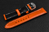 Italian Orange Half Padded Leather Watch Strap