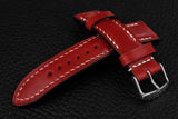 Italian Red Half Padded Leather Watch Strap