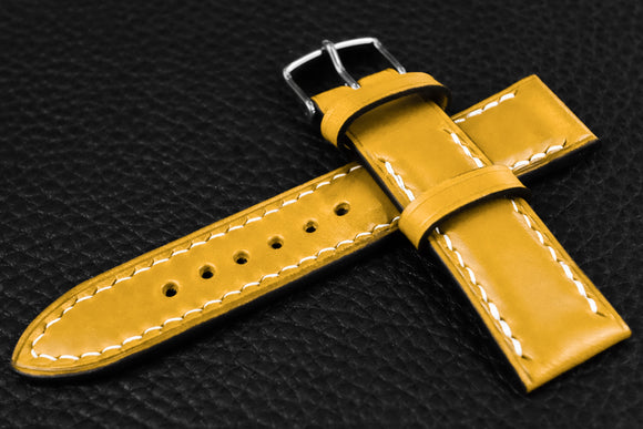 Italian Yellow Half Padded Leather Watch Strap